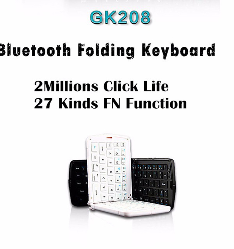 GEYES GK208 Foldable Wireless Bluetooth Keyboard, Support