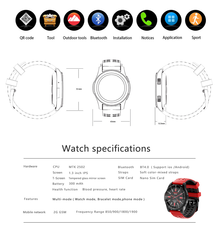 GS8 Fitness Activity Tracker Sports Bluetooth Smart Watch