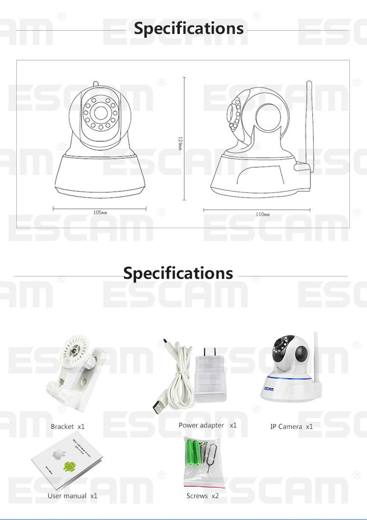 ESCAM QF002 720P 1.0MP WIFI IP Camera IR 10m, Support P2P