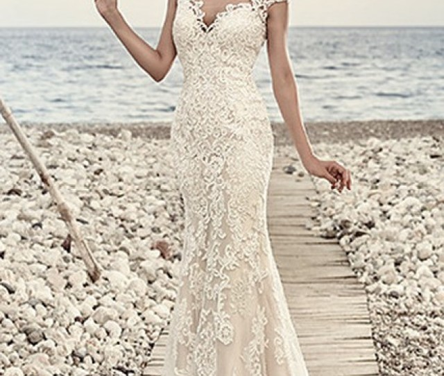faf189d8efe3 Sheath Cap Sleeve V Neck Floor Length Lace Wedding Dress With Appliques And Illusion  Ucenter Dress