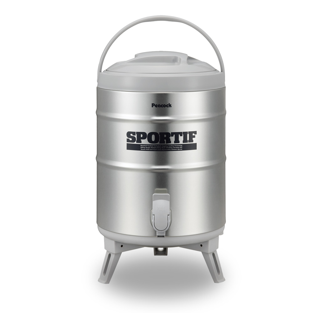 日本孔雀Peacock 日本製不鏽鋼保溫桶保冷桶 商用+露營休閒-9.5L(附接水杯x2)   有.設計 uDesign