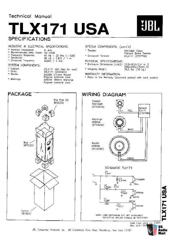 JBL TLX171 Floorstanding / Tower Speakers 150 Watts
