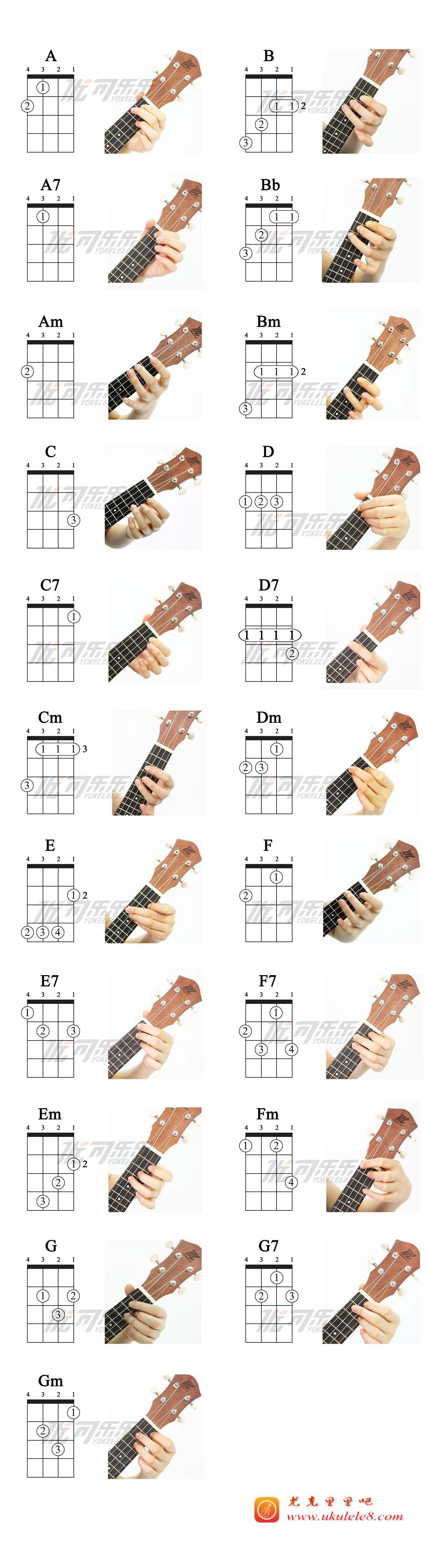 尤克里里的常用和弦-尤克里里吧