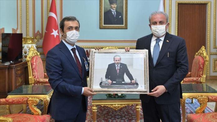 TBMM Başkanı Şentop, AA Parlamento Haberleri Editörü Çelebi'yi kabul etti