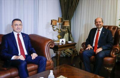 KKTC Cumhurbaşkanı Tatar'ın ilk konuğu Cumhurbaşkanı Yardımcısı Oktay oldu