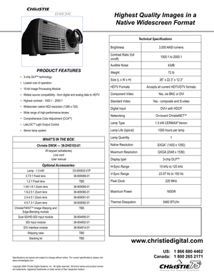 Christie Digital Systems Dw3k Specifications
