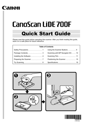 Canon Canoscan Lide 700f Quick Start Guide