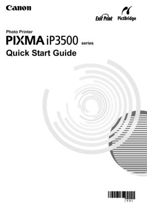 Canon Pixma Ip3500 Quick Start Guide