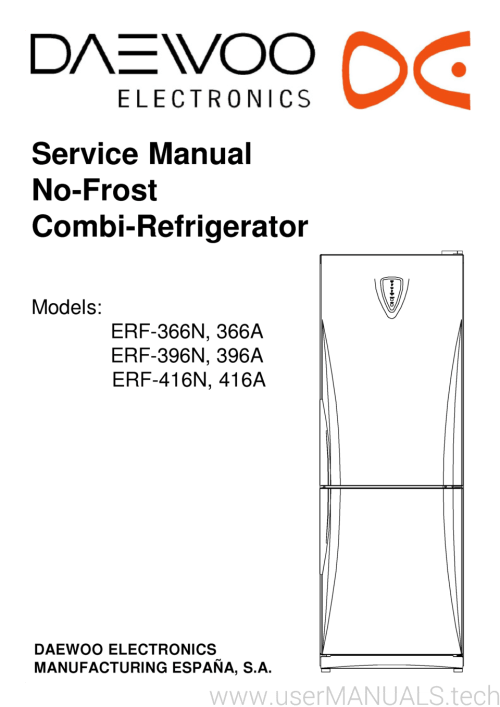 small resolution of page 1 service manual no frost combi refrigerator models erf 366n