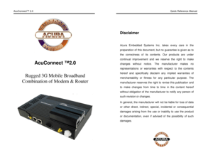 Acura Embedded Modem AcuConnect 20 Manual
