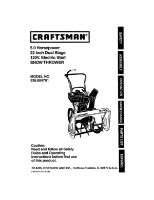 Craftsman 5.0 22 Snowblower Owners Manual