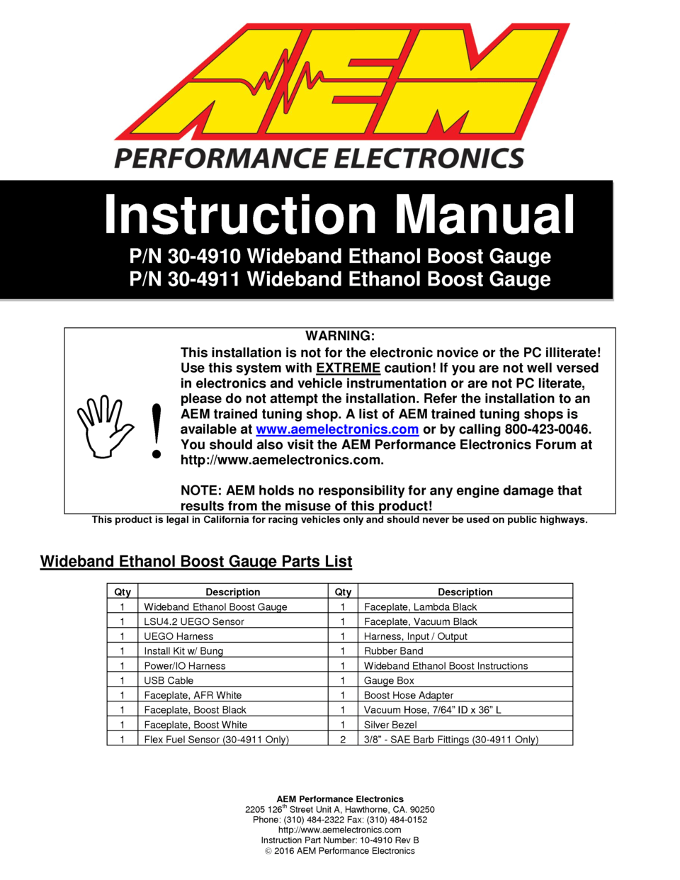 hight resolution of page 1 aem performance electronics 2205 126th street unit a hawthorne ca 90250