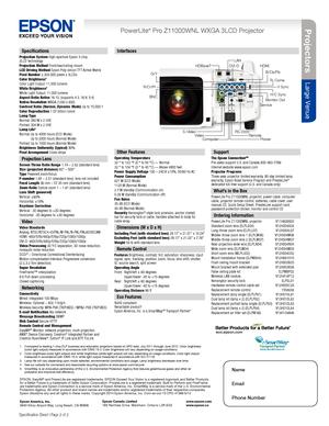 Epson Projector PowerLite Pro Z11000WNL WXGA Specifications