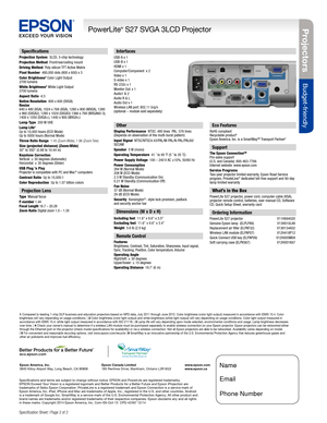 Epson Projector PowerLite S27 SVGA Specifications