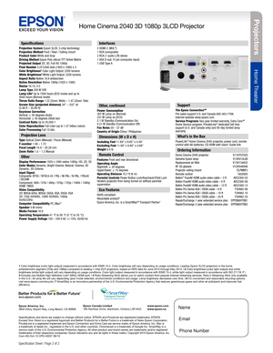 Epson Projector Home Cinema 2040 Specifications