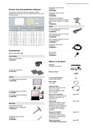 Epson Projector Emp X52 Specifications