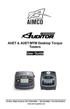 Aimco Brakes AUET Torque Analyzer User Guide