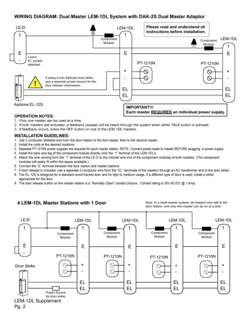 small resolution of lem 1dl supplement pg 2 wiring diagram dual master lem 1dl system with dak 2s dual master adaptor operation notes 1 only one master can be used