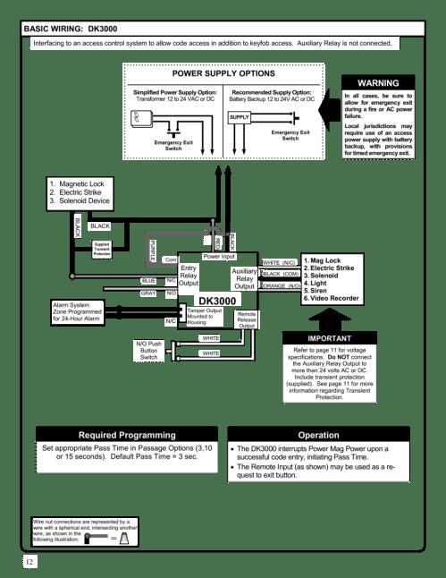 small resolution of alarm lock dk3000 programming manual page 12 mag lock wiring 12 basic wiring dk3000 interfacing