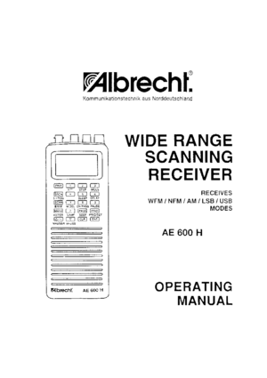Albrecht Scanning Receiver AE600H Operating Manual