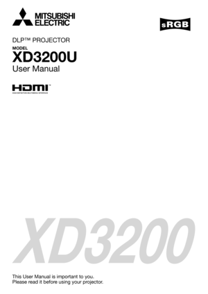 Mitsubishi Xd3200u Dlp Projector User Manual