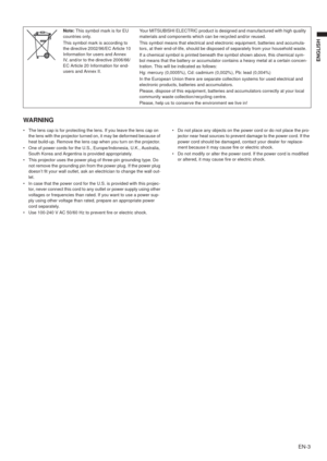 Mitsubishi Ew331u St Projector User Manual