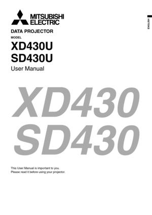 Mitsubishi Sd430u Projector User Manual