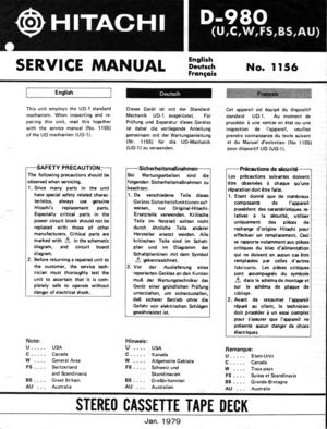 Hitachi D-980 Service Manual
