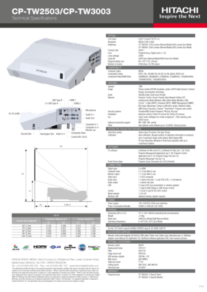 Hitachi Cp-Tw3003 Specifications