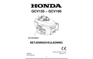 Honda Engine GCV135E, GCV160E Owners Manual Danish Version