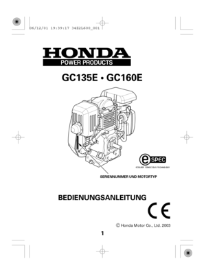 Engine Honda GC135E, GC160E German Version Manual
