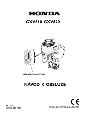 Honda Engine GXV610 GXV620 GXV670 Owners Manual Czech Version