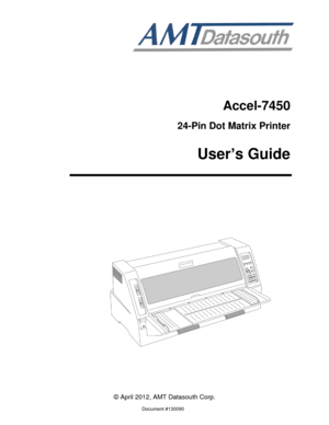 AMT Datasouth Printer Accel 7450 User guide pdf