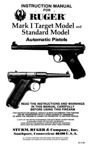 Ruger Mark I Target Instruction Manual