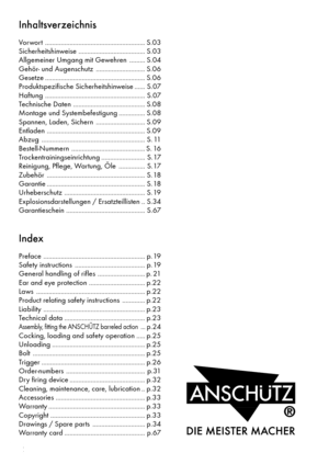 Anschutz 1907, 1912, 1913 Instruction Manual