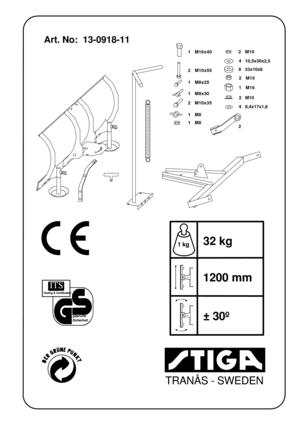 Stiga Snow Blade PA302 VA408 German Version Manual