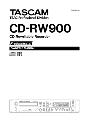 Tascam Cd Rewritable Recorder CD-RW900 Owners Manual
