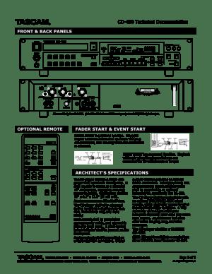 Tascam Cd-450 Technical Documentation Manual