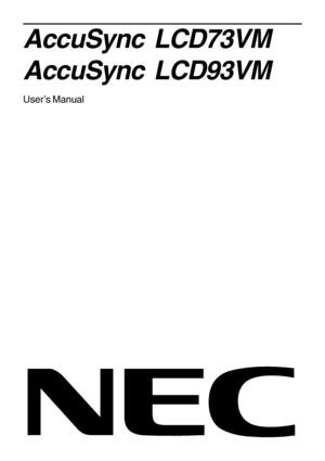 NEC Accusync Lcd93vm Users Manual