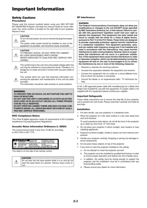 NEC Mt860 Lcd Projector Users Manual