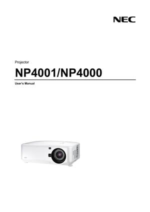 NEC Projector Np4001 User Manual