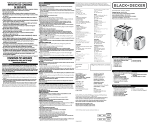 Black and Decker Toaster TR3490SKT TR6490SKT User Manual