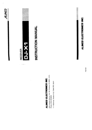 Alinco Dj-x1 Receiver Instruction Manual