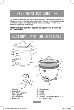 Oster 3 Cup Rice Cooker Instruction Manual