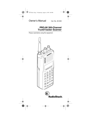 RadioShack Pro 90 TrunkTracker Scanner Owners Manual