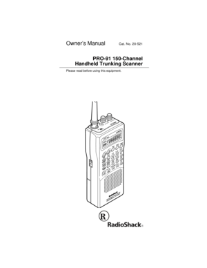 RadioShack Pro 91 Handheld Trunking Scanner Owners Manual