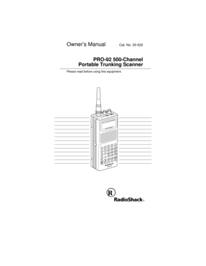 RadioShack Pro 92 Handheld Trunking Scanner Owners Manual