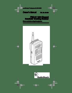 RadioShack Pro 94 Handheld Scanner Owners Manual