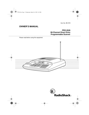 RadioShack Pro 2049 Programmable Scanner Owners Manual