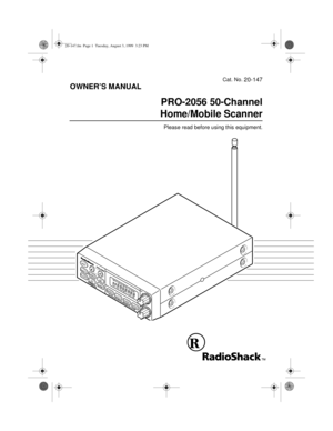 RadioShack Pro 2056 Scanner Reciever Owners Manual
